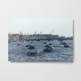 Huge water traffic on Neva River. Many passenger boats. Metal Print