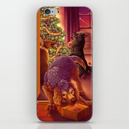 Christmas Card: Dogs Decorating the Tree iPhone Skin