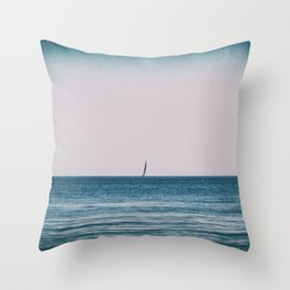 Solitary sailing boat in the mediterranean sea Throw Pillow