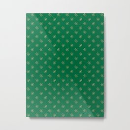 Tan Brown on Cadmium Green Snowflakes Metal Print