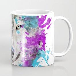 Watercolor wolf wolves head bold artistic painting blue purple violet cyan Coffee Mug