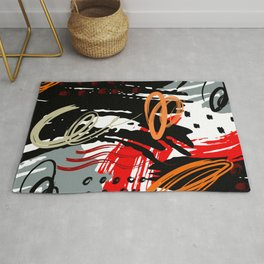 Abstract Red Black Gray and White  Circular Art Design Rug