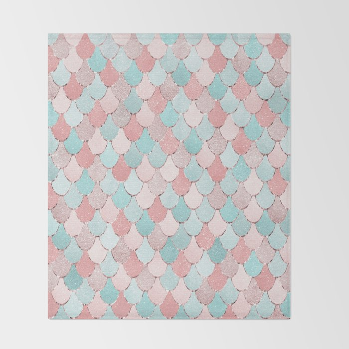 Mermaid Coral, Rose Gold, Pastel Pink, Aqua and Teal, Cute Colorful Pattern Throw Blanket