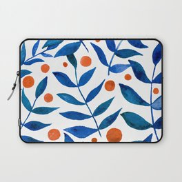 Watercolor berries and branches - blue and orange Laptop Sleeve