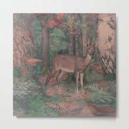 Deer in the Middle of Forest with Other Animals Metal Print