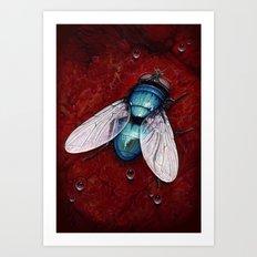 Green Bottle fly Art Print
