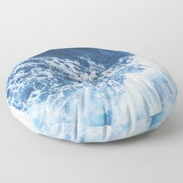 Blue and White Ocean Waves Floor Pillow