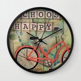 CHOOSE HAPPY, Beach Bike Wall Clock