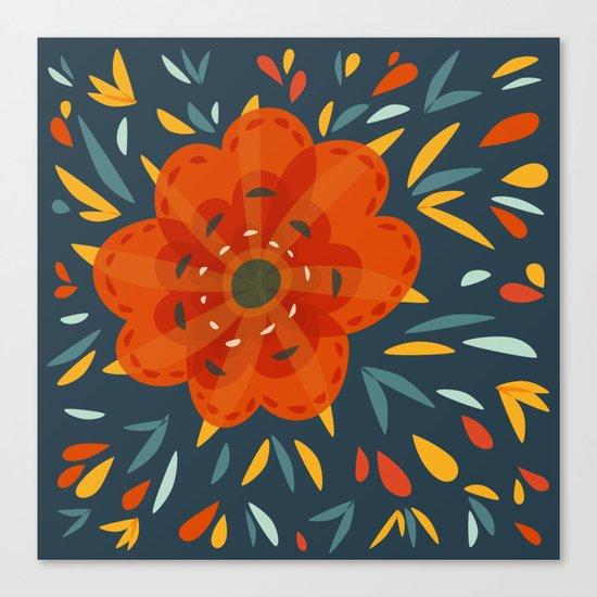 Decorative Whimsical Orange Flower Canvas Print