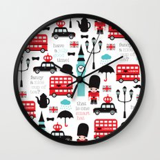 London icons illustration pattern print Wall Clock