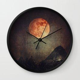 Moon over Dark Mountains Wall Clock