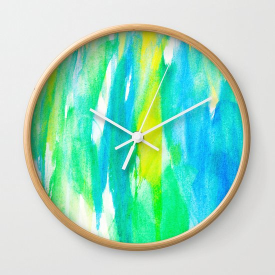 Artistic Neon Turquoise Yellow Teal Watercolor Wall Clock