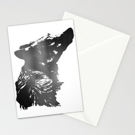 Wolf - Head - Sideview - Grey Stationery Cards