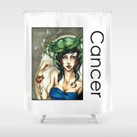 cancer Shower Curtains featuring Cancer by TammyWitzens