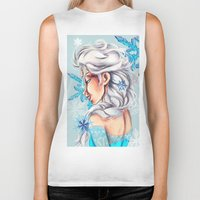 frozen elsa Biker Tanks featuring Elsa - Frozen by MissMachineArt