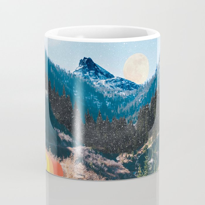 1960's Style Mountain Collage Kaffeebecher