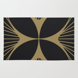 Diamond Series Floral Cross Gold on Charcoal Rug