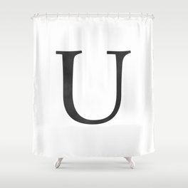 Letter U Initial Monogram Black and White Shower Curtain