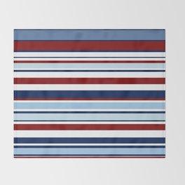 Nautical Stripes - Blue Red White Throw Blanket