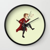 starlord Wall Clocks featuring Dancing Quill by Alice Wieckowska