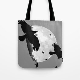 A Murder Of Crows Flying Across The Moon Tote Bag