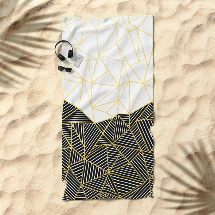 Ab Half and Half White Gold Beach Towel