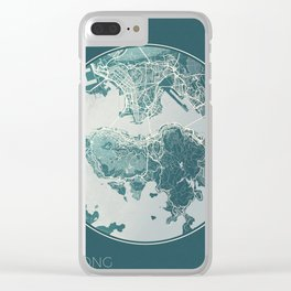 Hong Kong Map Planet Clear iPhone Case