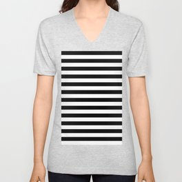 Black and White Horizontal Strips Unisex V-Neck