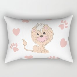 Cute Lion Cub with Paw Prints and Hearts Rectangular Pillow