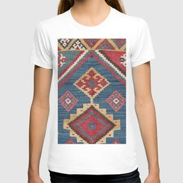 Vintage Woven Kilim // 19th Century Colorful Royal Blue Yellow Authentic Classic Ornate Accent Patte T-shirt