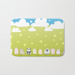 Cute Animals Art, Colorful Art with Clouds, Stars, Grass And Blue Sky Bath Mat