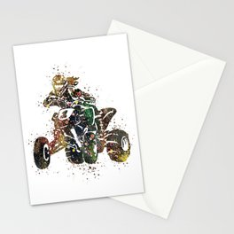 4 Wheeler Girl Art Offroad Racing Art ATV Life Colorful Watercolor Art Gift Stationery Cards