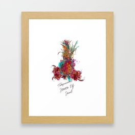 Beautiful tropical illustration colorful pineapple Framed Art Print