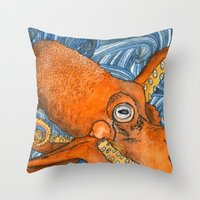 kraken Throw Pillows featuring Kraken by Amy Nickerson