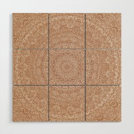The Most Detailed Intricate Mandala (Brown Tan) Maze Zentangle Hand Drawn Popular Trending Wood Wall Art