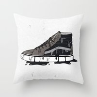 vans Throw Pillows featuring Vans Sk8-hi's by shoooes