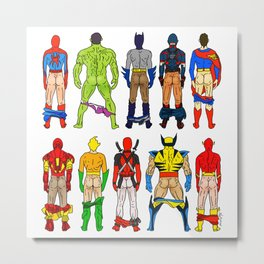 Superhero Butts Metal Print