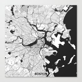 Boston Map Gray Canvas Print