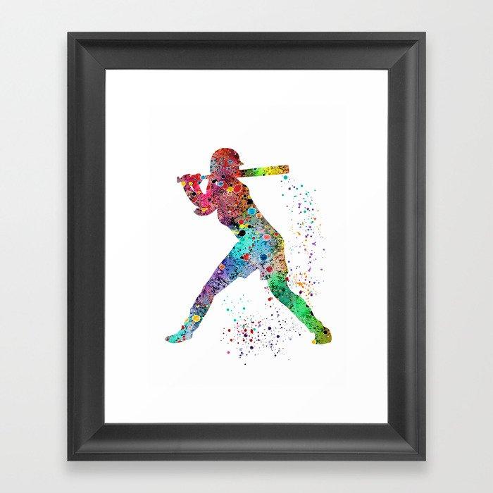 Baseball Softball Player Sports Art Print Watercolor Print Girl's softball Gerahmter Kunstdruck