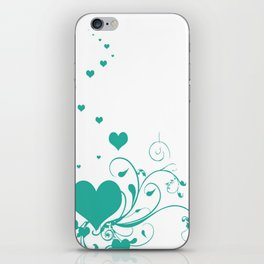 Aquamarine Valentine Hearts On A White Background iPhone Skin