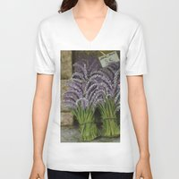 lavender V-neck T-shirts featuring LAVENDER by ART FEEDS HUNGER