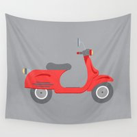 vespa Wall Tapestries featuring Vespa by Chicokids