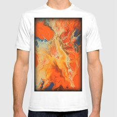 Orange and Blue MEDIUM White Mens Fitted Tee