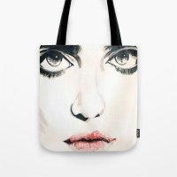 sky ferreira Tote Bags featuring Sky Ferreira by Tara Kostick