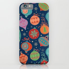 Multicolor Gold Christmas Tree Decoration Pattern iPhone Case