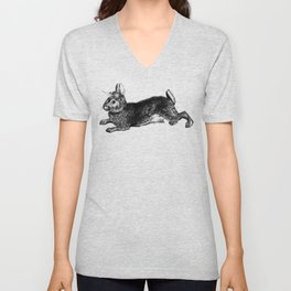 The Rabbit and Roses | Vintage Rabbit with Flower Crown | Bunny Rabbits | Bunnies | Black and White Unisex V-Neck