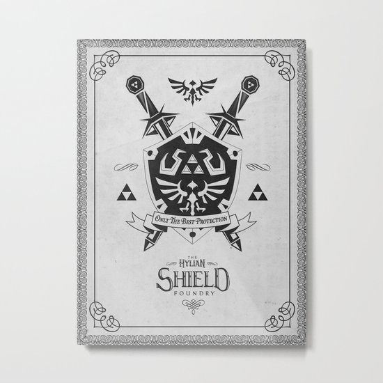 Legend of Zelda Hylian Shield Foundry logo Iconic Geek Line Artly Metal Print
