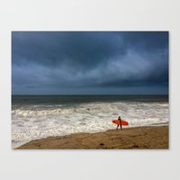 surfboard Canvas Prints featuring Orange Surfboard by PACIFIC OBLIVION