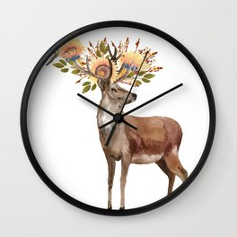 Boho Chic Deer With Flower Crown Wall Clock