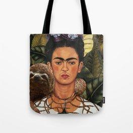 Frida Kahlo Self Portrait with a Sloth Tote Bag